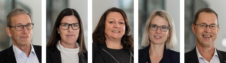 Porträtt på Åland Posts fem styrelsemedlemmar